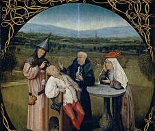 Hyeronimus Bosch - Estrazione della pietra della follia (1494 circa) olio su tavola, Madrid, Museo del Prado