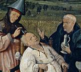 Hyeronimus Bosch - Estrazione della pietra della follia (1494 circa) oleo sobre tabla, Madrid, Museo del Prado