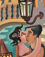 Fortunato Depero - Bacio a Venezia (1906) - olio su tavola - Collezione Fedrizzi - Venezia, Cà Pesaro