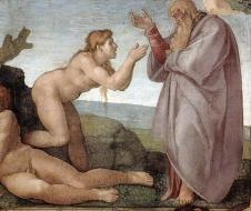 Michelangelo Buonarroti - La creazione di Eva (1511) affresco - Cappella Sistina - Città del Vaticano