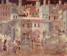 Ambrogio Lorenzetti - Effetti del Buon Governo in città (1338-1339) affresco, Siena, Palazzo Pubblico, Sala della Pace