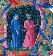 """""""Dante e Virgilio"""" - Divina Commedia, Giovanni di Paolo (c. 1444-1450), Londra, British Museum"""