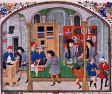 """Mercato medievale. Miniatura di """"Etica, Politica e Economia"""" - Aristotele (XV secolo) - Rouen, I.2 927"""